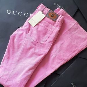NWT Authentic Gucci Pink Corduroy Flare Jeans